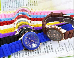 Wholesale New Shadow Style Geneva Watch Fashion Gold Metal Shell NO Luxury Men Women Silicone Jelly Candy Watches Airmail