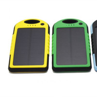 Wholesale 5000mah Solar Panel Dual USB Charger Battery Portable Power Bank LED Flashlight for Cellphone Laptop Camera MP4