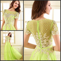 Reference Images Sweetheart Chiffon Diyouth Elegant Green chiffon Beading Applique Crew A-line Prom Dress Empire waistline Party dress Custom Made A019