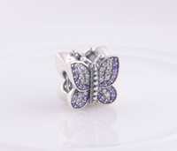 Wholesale Authentic ALE Sterling Silver Sparking Butterfly Bead with Zirconia Fits European Style Pandora Jewelry Charm Bracelets