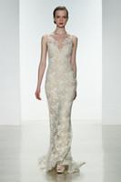A-Line amsale dress - 2014 New Sexy Sheath A line V Neckline Sleeveless Lace Applique Amsale Champagne Floor Length Backless Beach Wedding Dresses