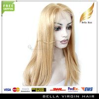 Wholesale Virgin Malaysian Hair Full Lace Wig Blonde Hair Silky Straight Human hair Full lace wig glueless Average Cap quot quot Bellahair DHL