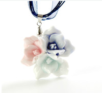 jewelry supply wholesale - Multi Color Flower Porcelain Jewelry Fashion Necklace Wedding Gift Jewelry Supplies ZH1417