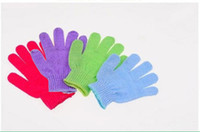 Wholesale Cloth Mitt Exfoliating Face or Body Bath Scrubbers Moisturizing gloves Sponges Glove EMS