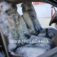 hebei sheepskin car seat covers - 2pcs Sheepskin Car Seat Cover White black