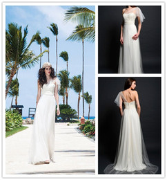 Wholesale Grecian Style Beach Wedding Dress One Shoulder Sheer Flutter Sleeve Beaded Bodice Gathered Waist Chiffon and Tulle Summer Bridal Dresses