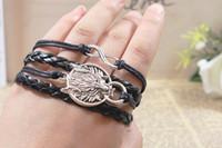 wolf jewelry - 24 Mix Style infinity Bracelet Charm Bracelets Multi layer Braided Leather DIY Handmade Jewelry Wolf Infinity Metal Charm Bracelet
