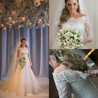 Wholesale 2015 Off The Shoulder A Line Lace Long Sleeves Garden Wedding Dresses Vintage Covered Button Sheer Winter Plus Size Bridal Gowns BO5656