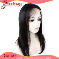 100% Brazilian Human Hair Silky Straight Full Lace Wig Grade...