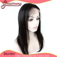 100% Brazilian Human Hair Silky Straight Full Lace Wig Grade...