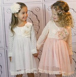 Wholesale summer new Baby Kids Clothing Children s girls princess long sleeve party princess lace with flower tutu dress LY