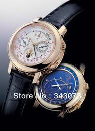Wholesale de lujo relojes de oro de los hombres de cuero de la correa del cielo fase de la luna PP reloj para hombre de rostro blanco de la moda mecánico automático suizo reloj de pulsera