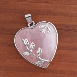 Wholesale 10pcs Charm Silver Plated Natural Rose Quartz Stone Heart Shape Chakra Stone Pendant Jewelry