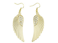 Wholesale Angel Wing Earrings For Women Rainstone High Quality Gold Silver Color mix B24