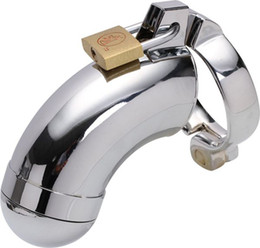 Wholesale Locking Male Chastity Belt Device Male Chastity Device Cock Cage Stainless Steel Penis Ring Men Bird Lock Stainless Steel Belt Bondage Cages