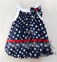 Wholesale AMISSA Children Baby Dress Girl s Lantern Skirt Chiffon Bow Polkadot Dress Summer GD40526