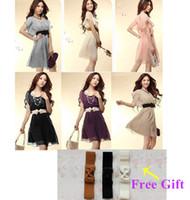 Wholesale New Fashion Women s Mini Summer Casual Dress Lady Chiffon Dress With Belt Purple Pink White Colors G0172 GA0005