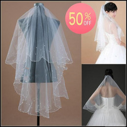Wholesale Popular Fashion New Hot Sale Cheap Off T White Ivory Wedding Bridal quot X57 quot Pearls Scallop Edge Veil