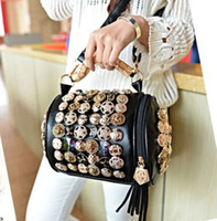 Wholesale Handbags multifunction buttons cylinder coin bucket bag tassel handbag shoulder bag women s diagonal package