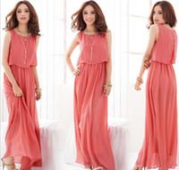 Wholesale 2015 New Summer Bohemian Women Chiffon Ankle Length Long Dresses Sleeveless Vest Dress Vestidos Color size plus size