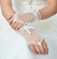 Wholesale White Color Lace Fingerless Wedding bridal Gloves