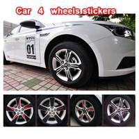 achat en gros de carbon fiber vinyl-Car Decal roues de bande autocollants pour CHEVROLET Cruze-bord en fibre de carbone décoration autocollants 3D livraison gratuite