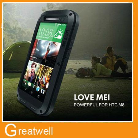 Buy LOVE MEI Metal Aluminum Case Protection Cover Gorilla Glass HTC ONE M8 Waterproof Shockproof Outdoor Sports Retail Box
