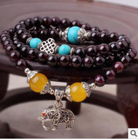 Cheap Natural crystal bracelet beaded silver bracelet charm Natural garnet citrine diamond elephant in Nepal turquoise bracelet jewelry wholesale