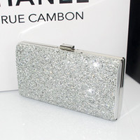 Wholesale Hot New Fashion Crystal Diamond Strass Mesh Box Clutch Women Evening Bags Bridemade wedding handbags Party Sliver Black Gold