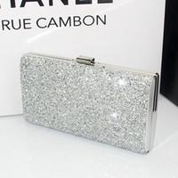 Wholesale Hot New Fashion Diamond Rhinestone Box Clutch Crystal Women Evening Bags Bridesmaid wedding handbags Party Sliver Black Gold