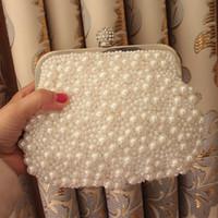 Wholesale Hot sale New Mini White Handmade Pearls Strass Diamond Bridal Clutches Lady Evening Handbag Bridesmaid Bag Purse Sac Bolsas