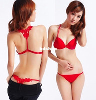 Wholesale Drop shipping sex front closure young girl bow bra lady s cotton push up underwear set A B cup B0R14A