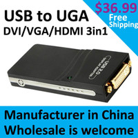 Wholesale USB UGA USB to DVI VGA HDMI Multi Display Dual Monitor Converter Adapter USB graphic card USB to DVI