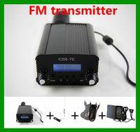 Wholesale 7W stereo PLL FM transmitter broadcast radio station GP antenna Audio line DC V A power supply