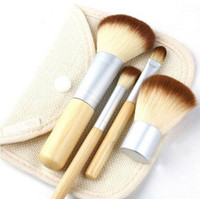 2 bamboo settings - 4 Pro Cosmetic Brush set Bamboo Handle Synthetic Makeup Brushes Kit make up brush set tools