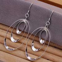 Wholesale Pretty Gift Silver Three Circles Hoops Earrings Fashion Ladies Earrings pairs