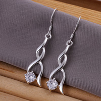Wholesale Pretty Gift Silver Elegant Zircon Crystal Fashion Earrings Ladies Earrings pairs