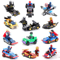 Wholesale 2014 New High Quality Super Hero mini figure Revenger w vehicle spiderman batman building blocks toy birthday gift Free Ship