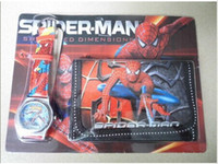 Wholesale 2013 SpiderMan Cartoon Child Quartz Wrist Watch Clock with One Purse Wallet Pocket for Boys Kids Children Birthday Gift4pcs