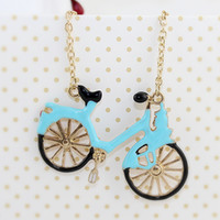 Beaded Necklaces bicycle pendant - Fashion Vivid Design Lovely Enamel Bicycle Pendant Necklace