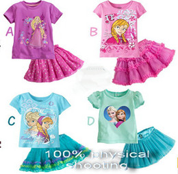 2016 Baby Girl Dress Set Summer Cotton Elsa Anna T shirt Layered Tutu Dresses Sets Skirt 2Pcs Suits Little Girl Princess Costume
