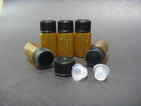 Wholesale ml Amber Small Glass Bottles Vials container with PP Screw lid and stopper insert NEW amp EMPTY