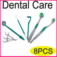 Wholesale New8 Piece Oral Dental Care Tooth Brush Kit Floss Stain Tongue Picks Teeth Denticlean clean tools