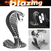 Emblems NO Grill Emblem Wholesale-3D Chrome Cobra Naja Shelby Snake Metal Front Grille Grill Emblem Car Auto Turning Racing Running Badge Body Kit Decal Emblem