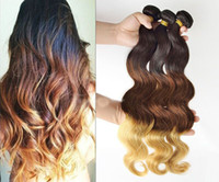 Cheap Hot Queen Hair New Arrival 3 Tone Ombre Color #1B\4\27 100% Brazilian Virgin Hair Weft Remy Hair Body Wave Hair Extension Weave Grade AAAAA