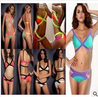 Acrylic Split Women 2014 swimwears andage Vintage Knitted 3 Colors Mixed Hot Sexy Neon Bikini Set,Women Slim Halter Beach Swim Swimwear,Beachwear Swimsuit Y420