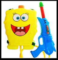 Balls 3 & 4 Years unisex Free Shipping 2400ml Cartoon SpongeBob Backpack Water Gun, Power Air Pressure Watergun, Children's Outdoor Toy