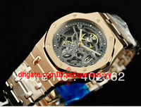 Sport Men's Auto Date Hot Sale +AAAA Luxury Mens Vine Transparent Skeleton Dial Watch Rose Gold Offshore Men's Automatic Mechanical High Quality Watches