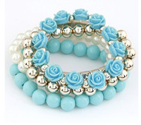 Wholesale 2014 Hot Charming Multilayer Pearl Ctystal plastic Beads rose flower Bracelet colorful