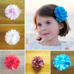 girl hairwear with clip 5CM satin mesh flower hairpin wrapping cloth girl hair accessories 70 pcs freeshipping